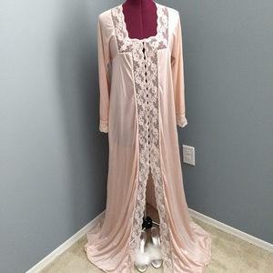 Vintage Intimates & Sleepwear - Vintage 70's Pale Blush & Lace Button Up Nightgown